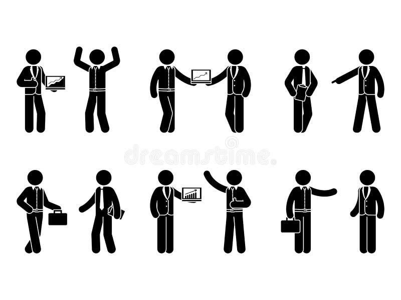 Figura insieme del bastone dell'icona di cooperazione di affari Illustrazione di vettore dei colleghi isolati su bianco illustrazione vettoriale
