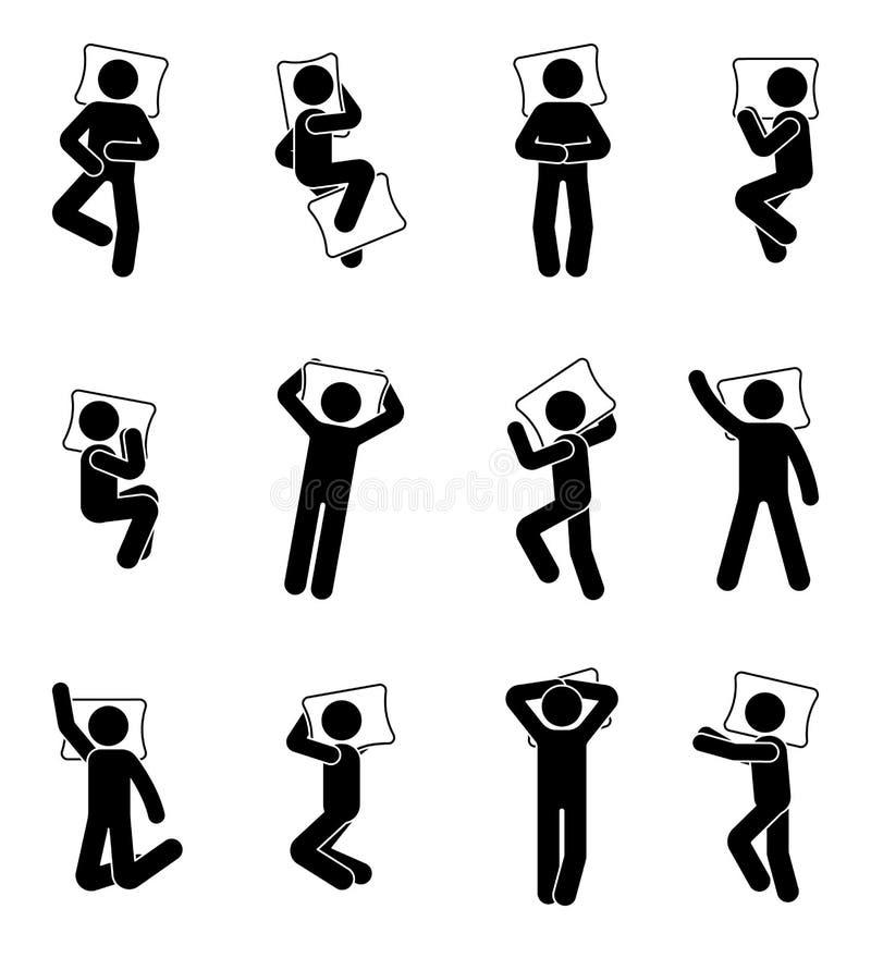 Figura insieme del bastone dell'icona di sonno dell'uomo Le posizioni Deferent scelgono il pittogramma del maschio a letto illustrazione vettoriale