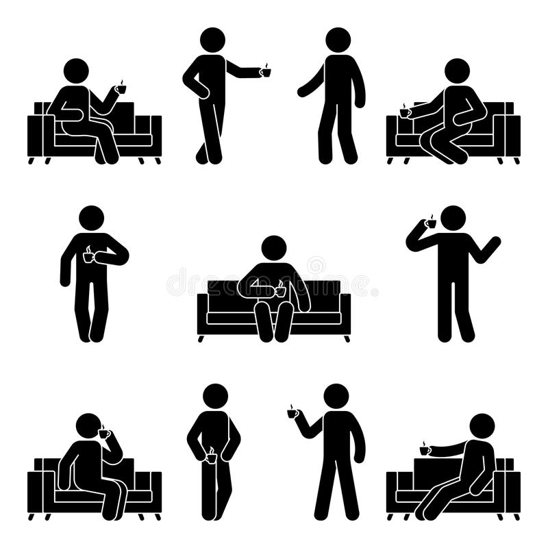Figura insieme del bastone di caffè bevente Illustrazione di vettore dell'uomo di riposo sul sofà illustrazione vettoriale