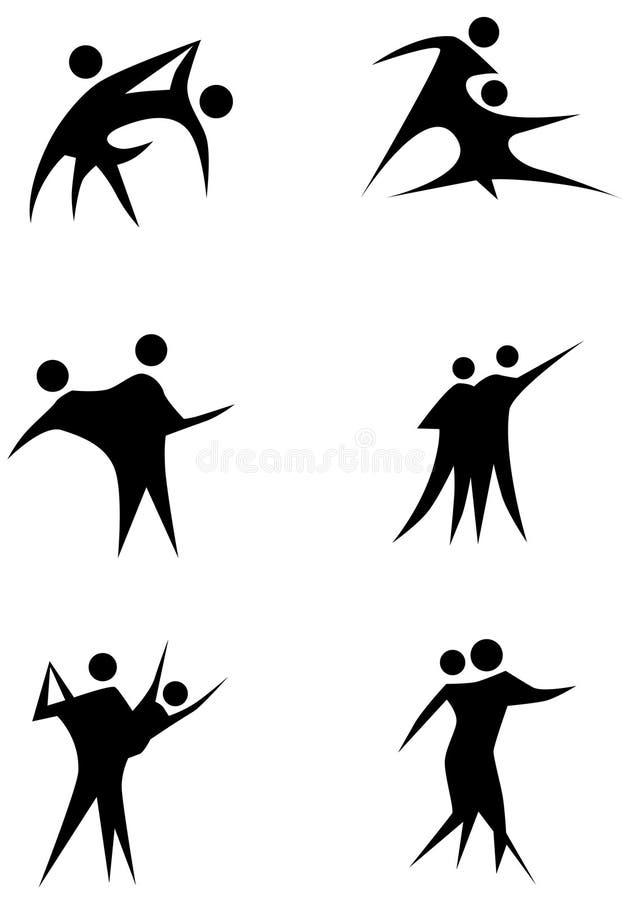 Figura jogo da vara da dança dos pares ilustração stock