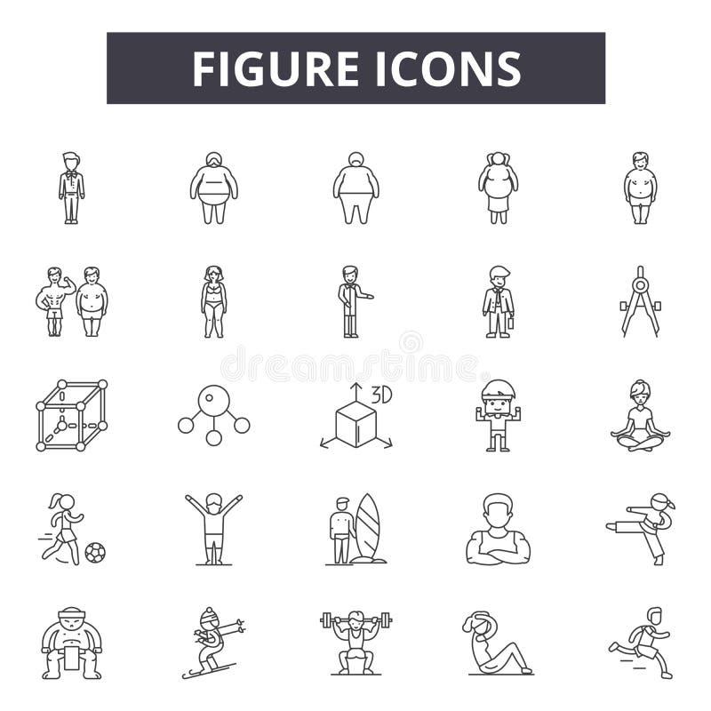Figura linea icone, segni, insieme di vettore, concetto dell'illustrazione del profilo illustrazione vettoriale