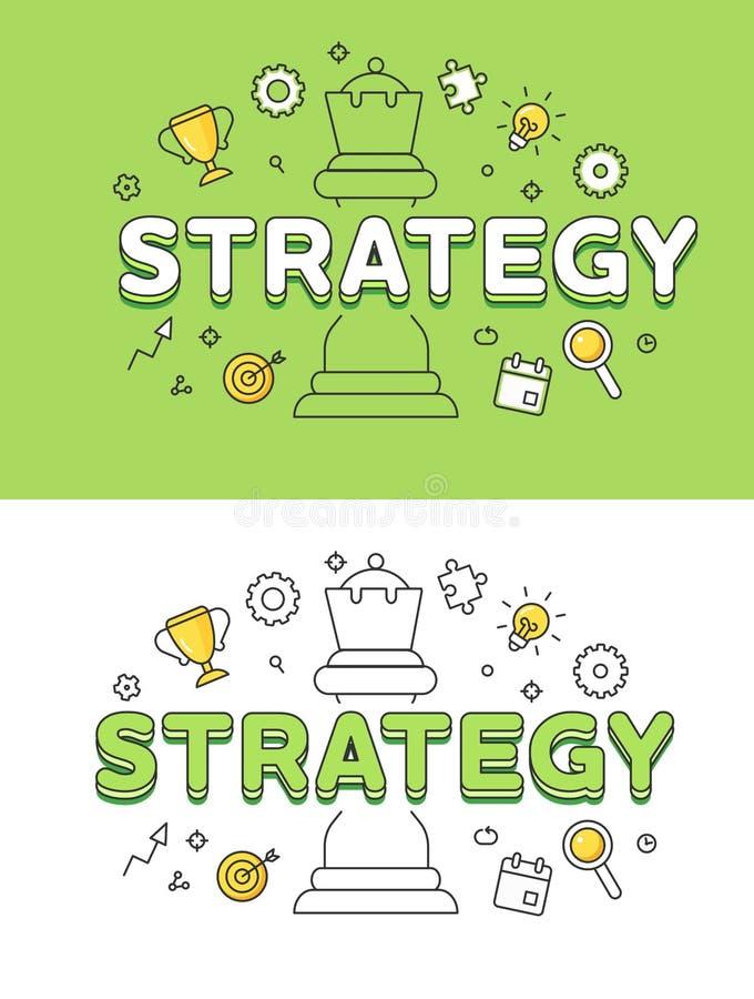 Figura lisa linear da rainha da xadrez da estratégia empresarial ilustração stock