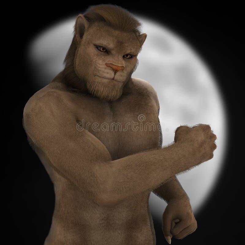 Figura lua do homem do leão da fantasia ilustração do vetor