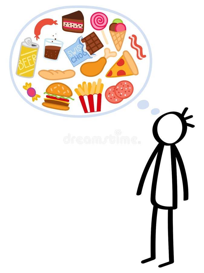 Figura magro homem da vara, alimento insalubre com fome, implorando, frenesi comendo, esforço ilustração stock