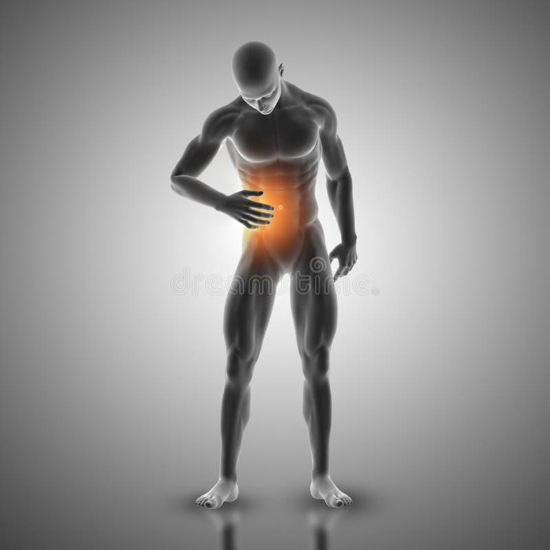 figura masculina 3D que sostiene el estómago en dolor libre illustration