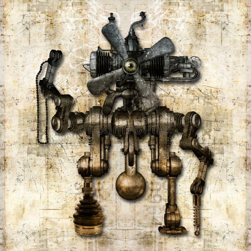 Figura mecânica antiga ilustração stock
