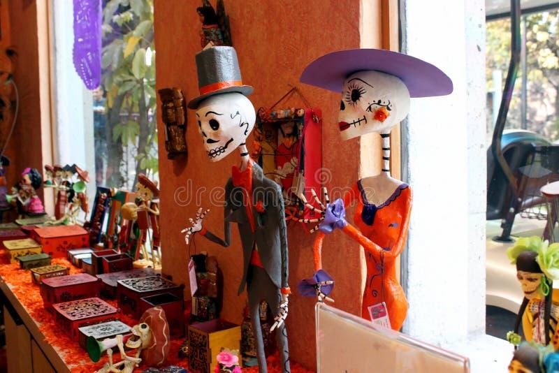 Figura mexicana esqueletos, día de dias de los muertos de la muerte muerta fotografía de archivo
