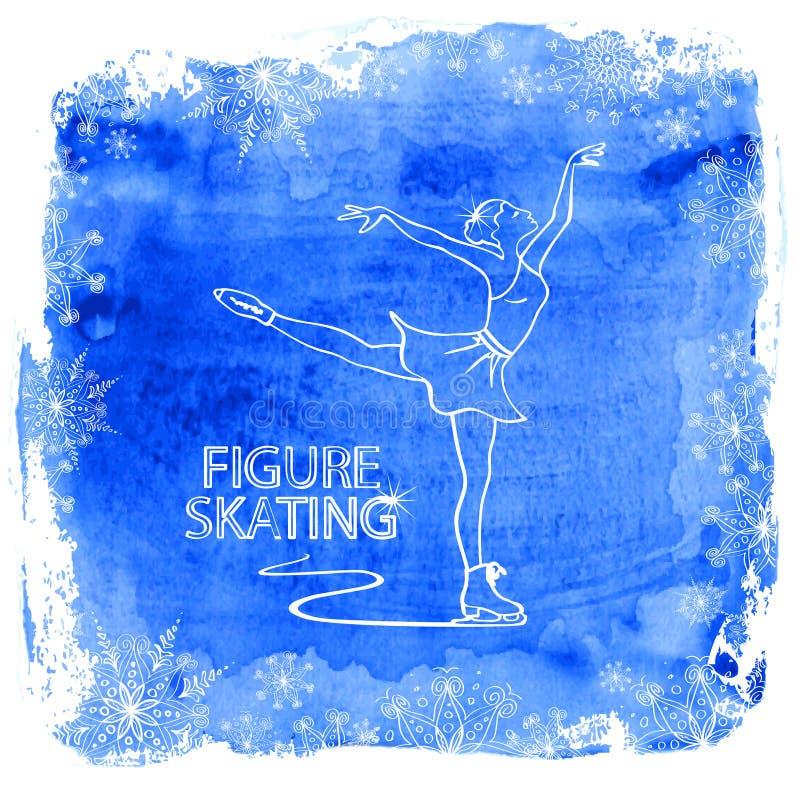 Figura muchacha del patinador en un fondo de la acuarela ilustración del vector