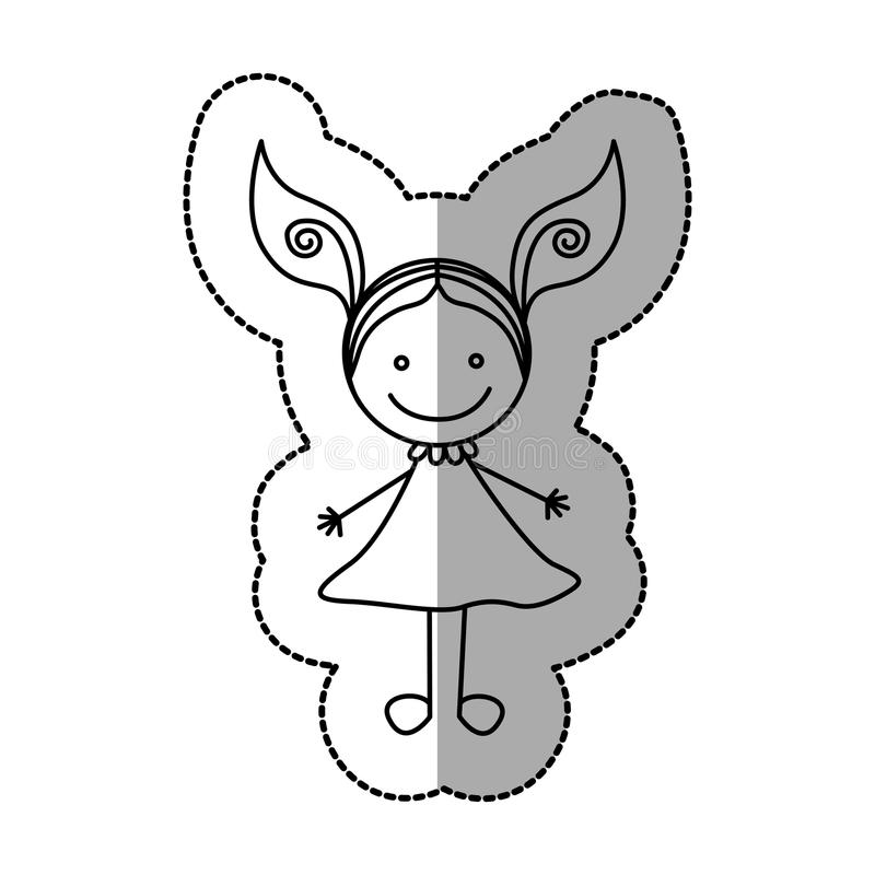 figura muchacha feliz con el icono de dos colas stock de ilustración