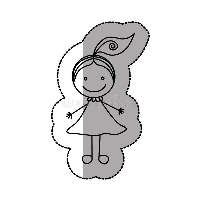 figura muchacha feliz con un icono de la cola ilustración del vector
