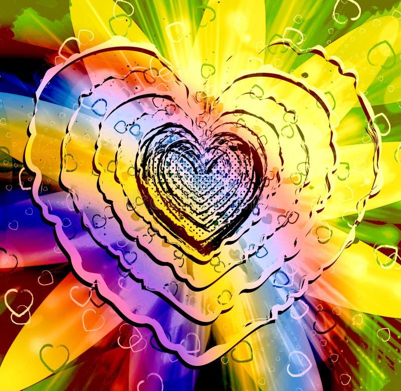 Figura multicolore scintillante del cuore royalty illustrazione gratis