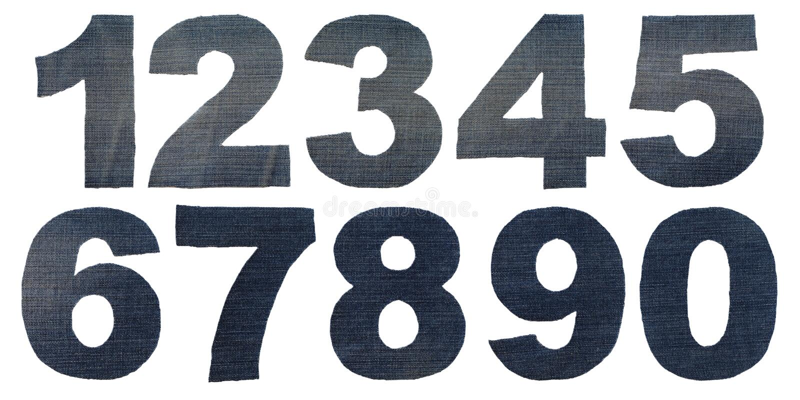 Figura números da sarja de Nimes fotos de stock