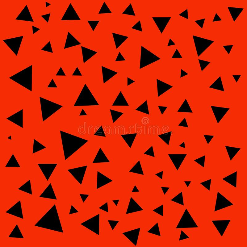 Figura negra geométrica estructura Contexto negro abstracto de los tri?ngulos Tri?ngulo en el fondo rojo stock de ilustración