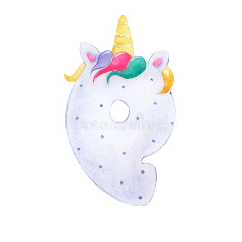Figura nove del fumetto per un partito dell'unicorno royalty illustrazione gratis