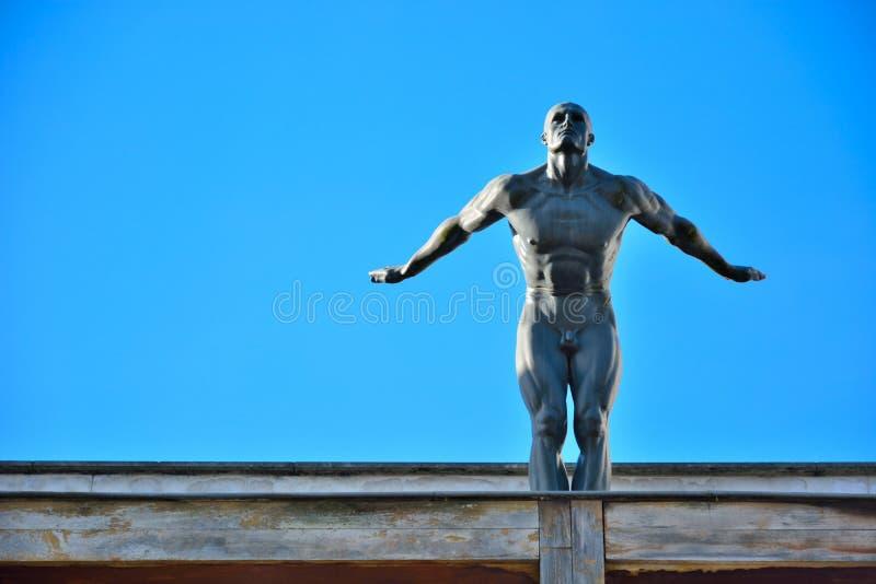 Figura nuda atletica pronta a saltare immagine stock