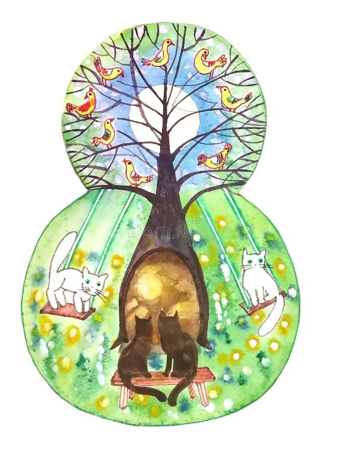 Figura oito com a imagem de uma árvore decorativa e de pássaros imagem de stock royalty free
