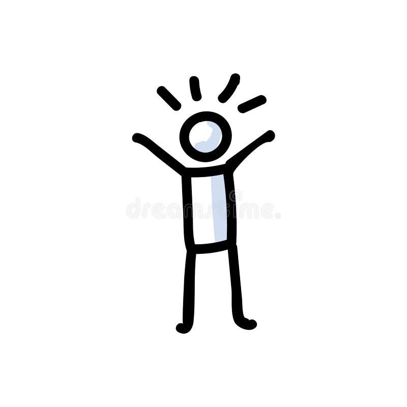 Figura Otimista Desenhada à Mão na Dobra Cheerful Conceito de expressão positiva e feliz Motif de Ícone Simples para a Glad ilustração do vetor