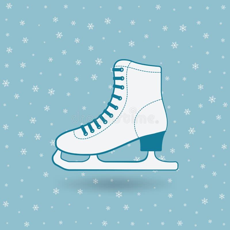 Figura patín en fondo azul con los copos de nieve ilustración del vector