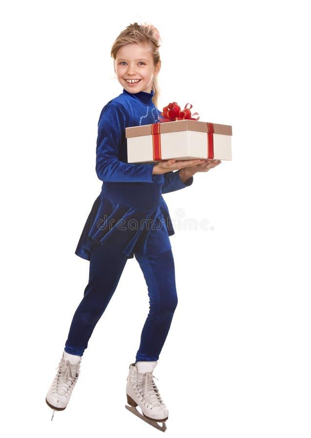 Figura patinagem do esporte da menina da criança no patim branco. imagem de stock royalty free