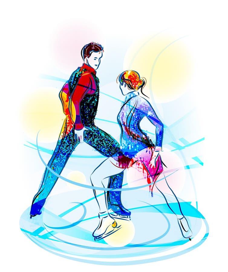 Figura patinagem dos pares. ilustração do vetor