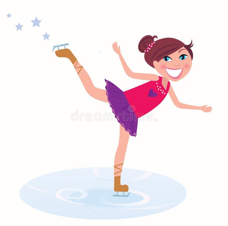 Figura pattinare di addestramento della ragazza illustrazione vettoriale