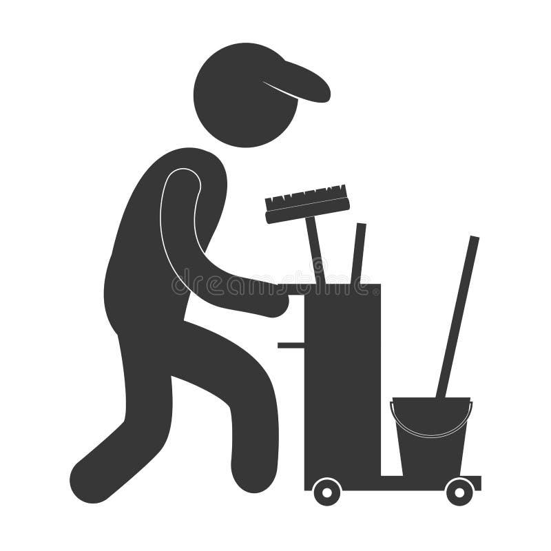 figura pictograma do equipamento da limpeza do trabalhador do homem ilustração royalty free