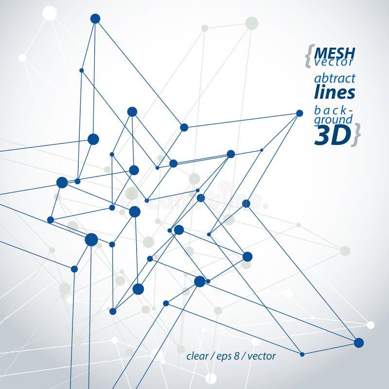 Figura poligonal de la construcción de la tecnología dimensional con el connec negro ilustración del vector