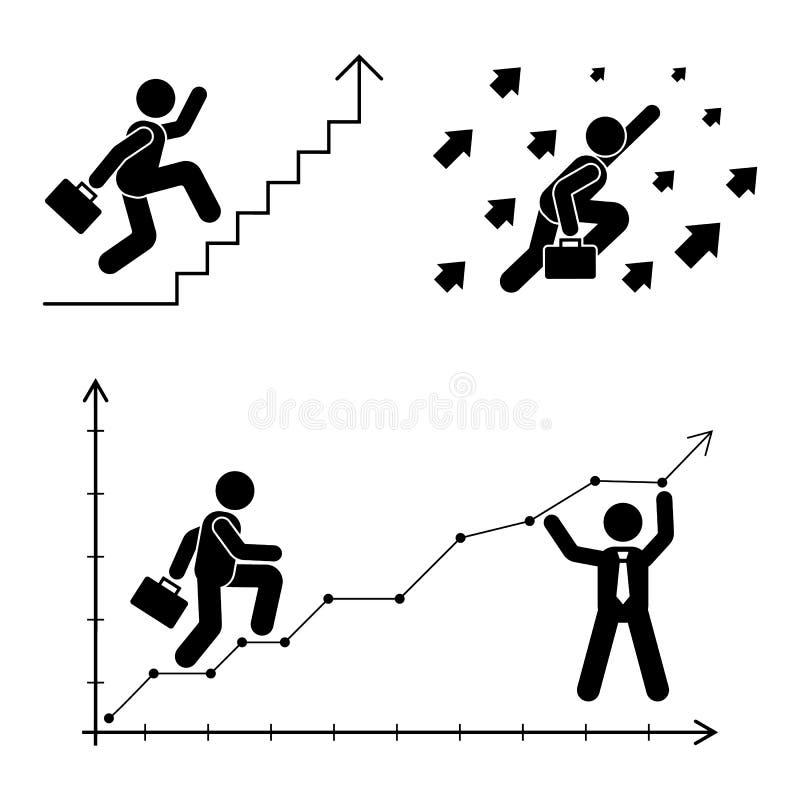 Figura pose del bastone fissate Icona della persona del grafico di finanza di affari Pittogramma di vettore della soluzione degli illustrazione vettoriale