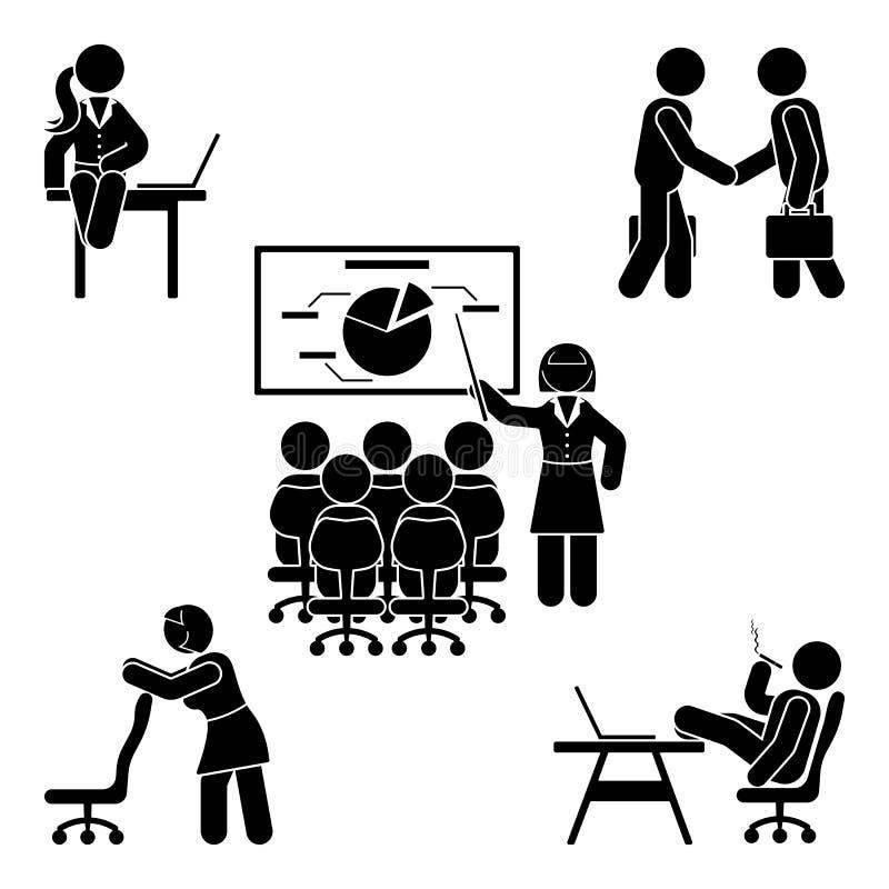 Figura poses da vara do escritório ajustadas Apoio do local de trabalho da finança do negócio Trabalhando, sentando-se, falando,  ilustração stock