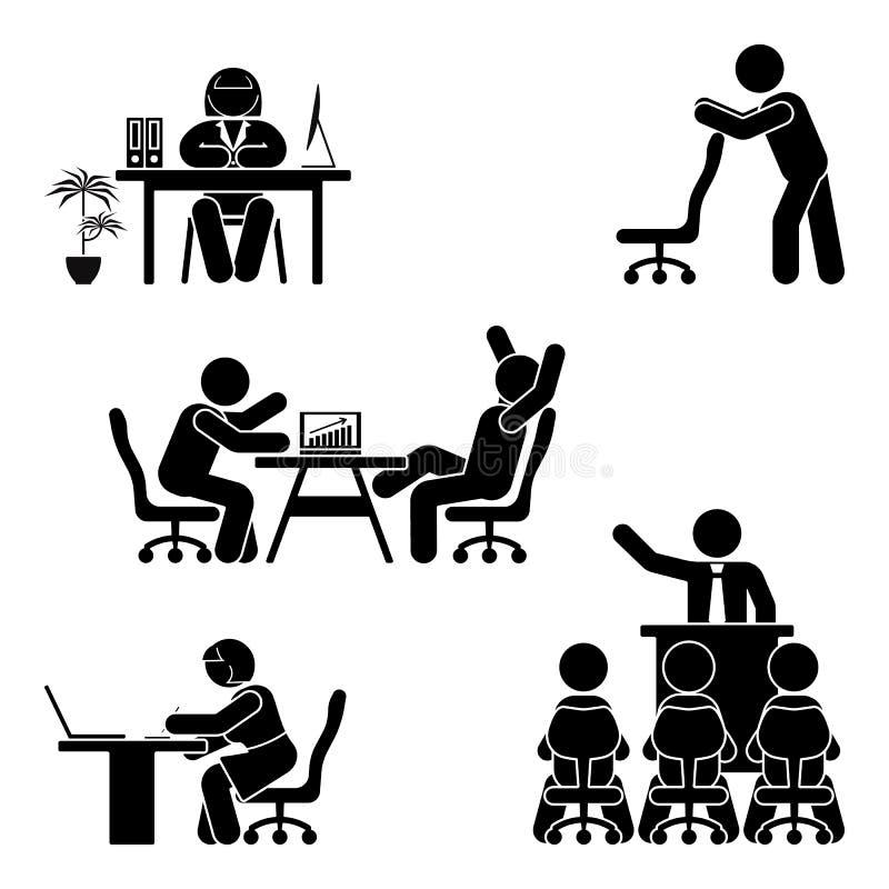Figura poses da vara do escritório ajustadas Apoio do local de trabalho da finança do negócio Trabalhando, sentando-se, falando,  ilustração do vetor