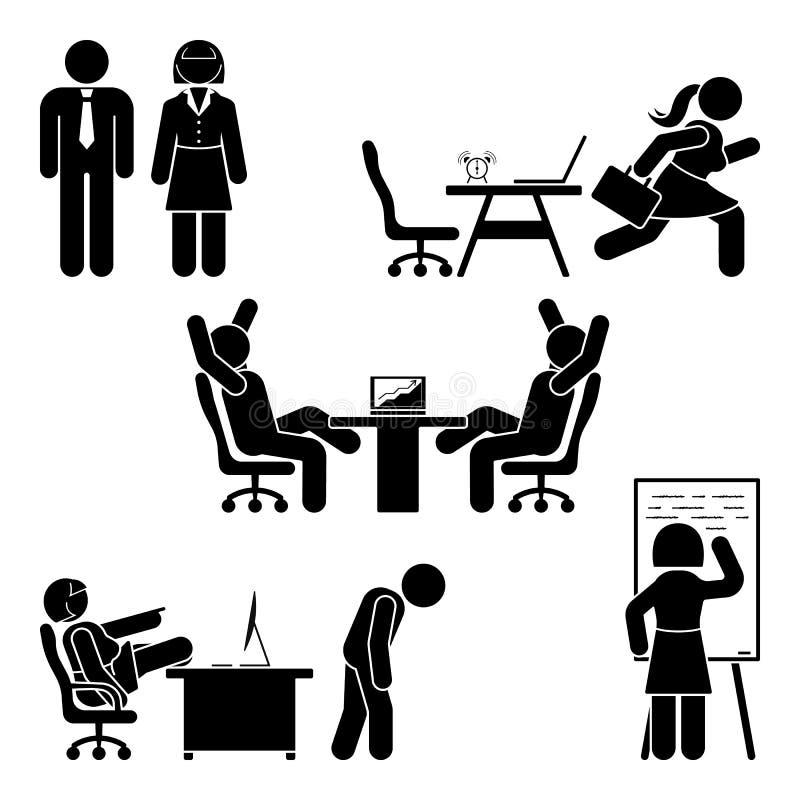 Figura poses da vara do escritório ajustadas Apoio do local de trabalho da finança do negócio Trabalhando, sentando-se, falando,  ilustração royalty free