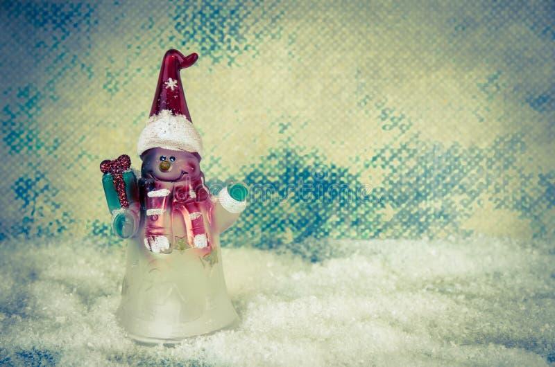 Figura preciosa decoración del muñeco de nieve de la Navidad imágenes de archivo libres de regalías