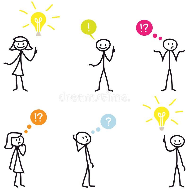 Figura pregunta del palillo de Stickman de la idea de la bombilla libre illustration