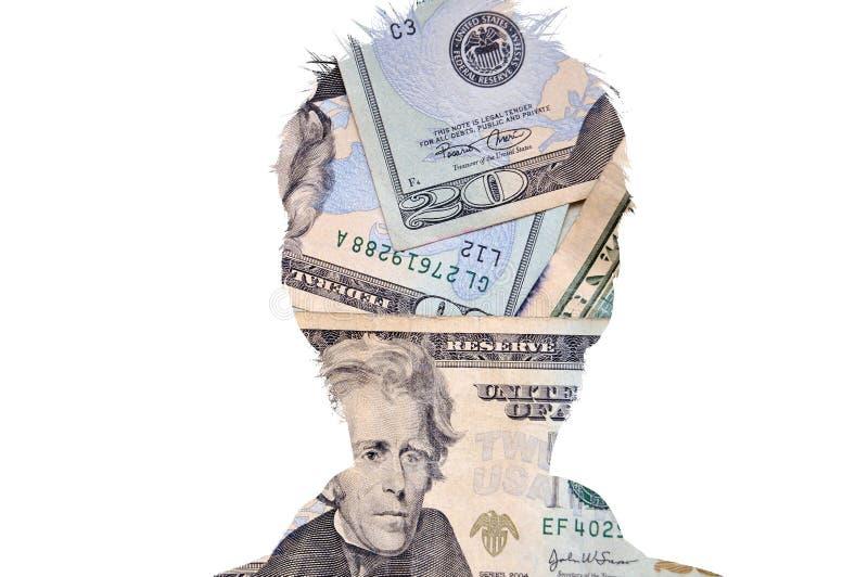Figura principal da silhueta com dinheiro fotografia de stock