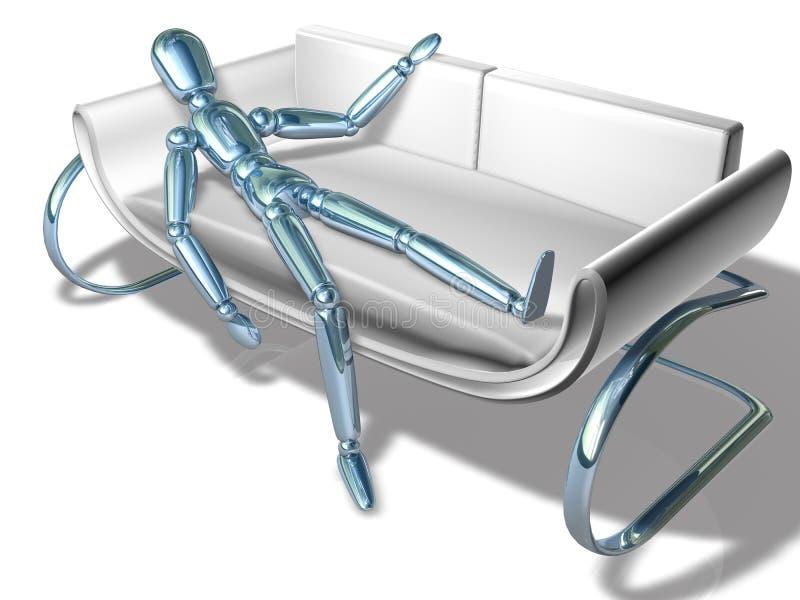 Figura que reclina no sofá ilustração royalty free
