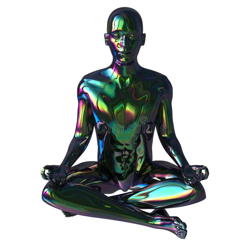 Figura reflexi?n colorida brillante chispeante del hombre de la actitud estilizada del loto libre illustration