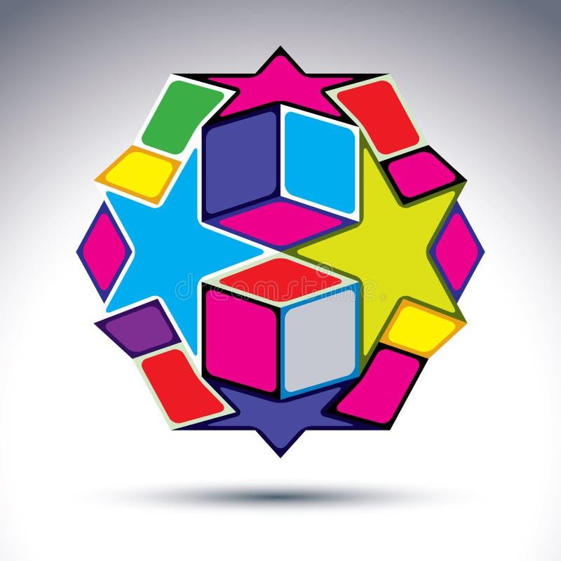 Figura rica construida de elementos geométricos - sta del extracto 3d stock de ilustración
