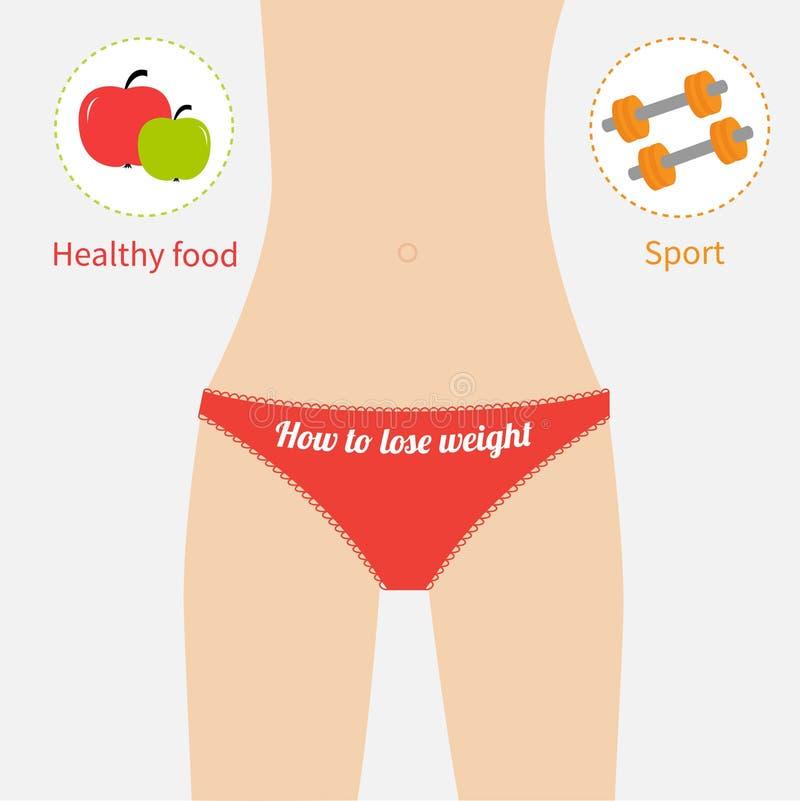 Figura ropa interior de la mujer del rojo de la cintura Comida sana, libre illustration