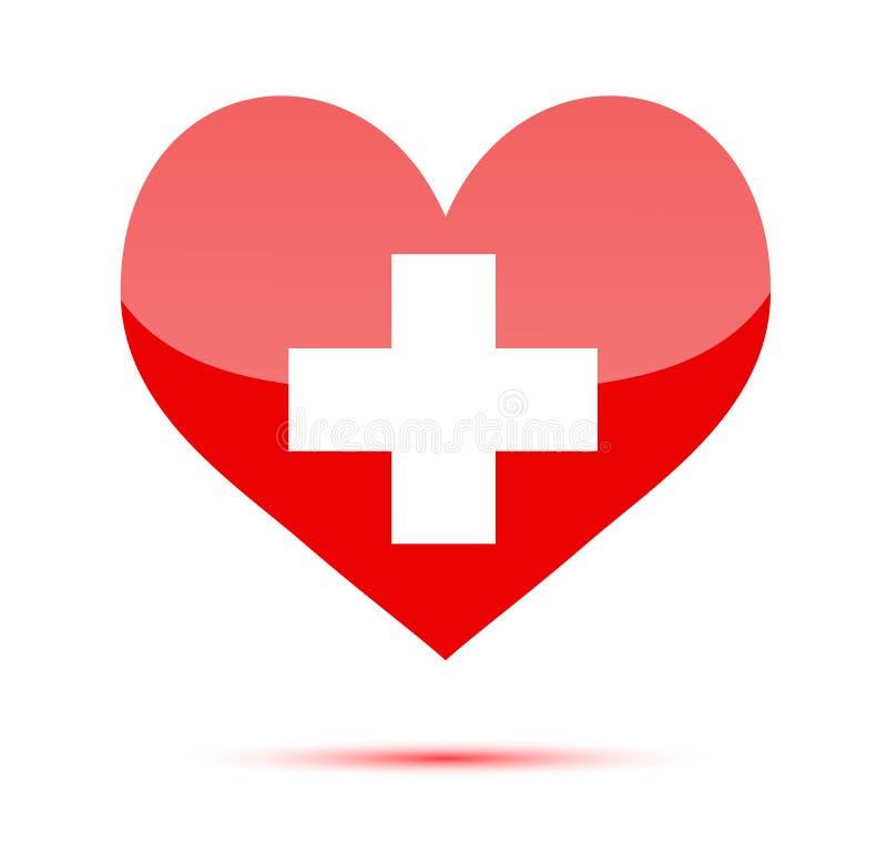 Figura rossa del cuore con la traversa medica illustrazione di stock