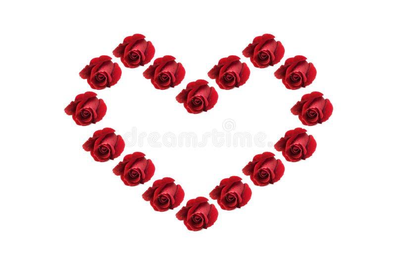 Figura rossa del cuore delle rose fotografia stock
