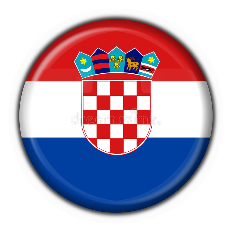 Figura rotonda della bandierina del tasto del Croatia illustrazione vettoriale