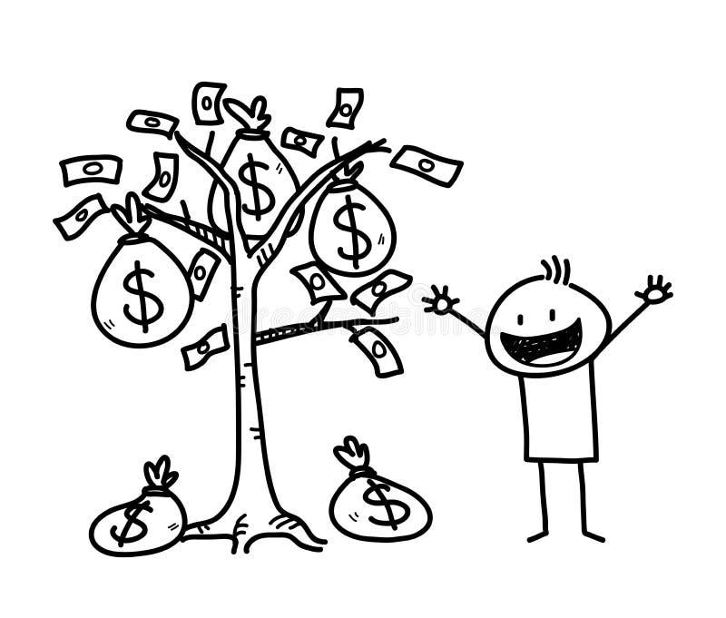 Figura scarabocchio del bastone di affari dell'albero dei soldi illustrazione di stock