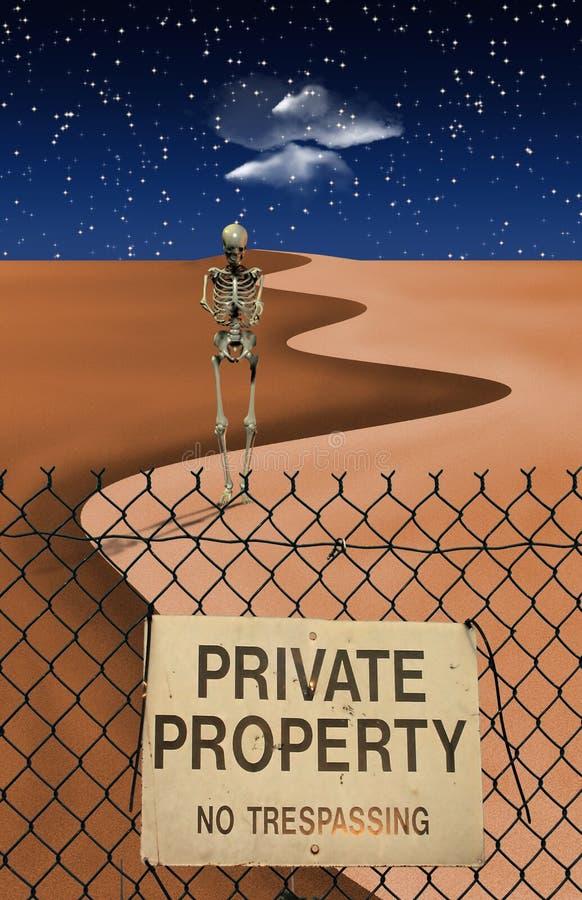 Figura scheletrica in deserto illustrazione di stock