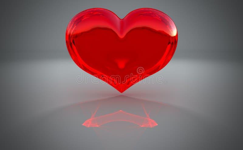 Figura Semitransparent del cuore con la riflessione illustrazione di stock