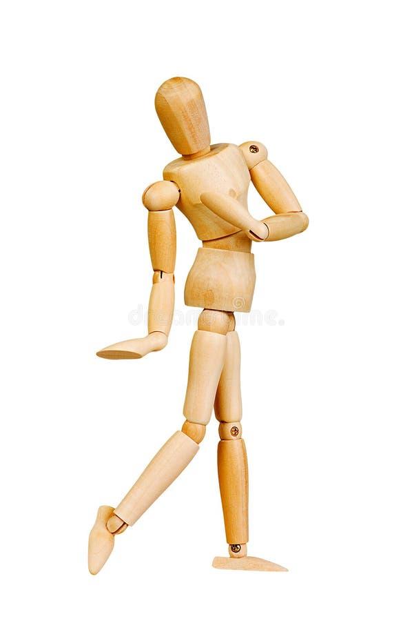 A figura ser humano de madeira da estatueta do homem faz a experiências das mostras a ação emocional em um fundo branco imagem de stock royalty free