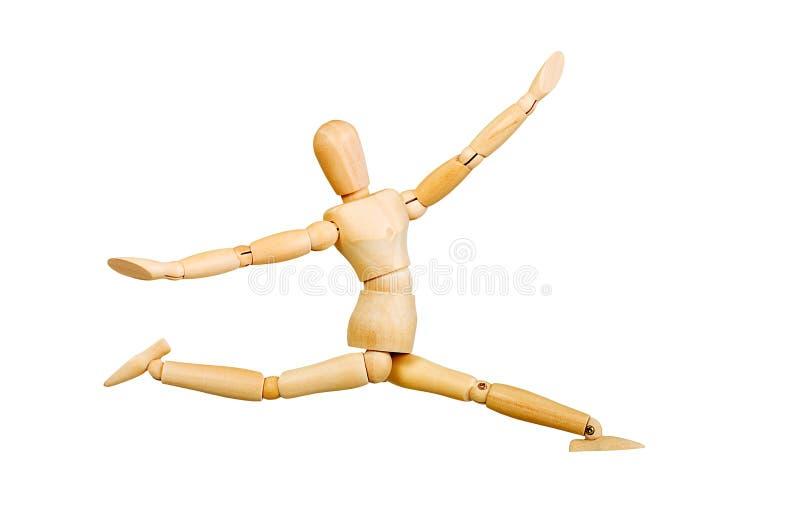 A figura ser humano de madeira da estatueta do homem faz a experiências das mostras a ação emocional em um fundo branco fotografia de stock royalty free