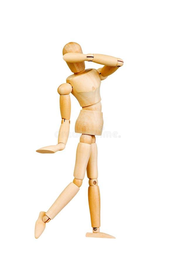 A figura ser humano de madeira da estatueta do homem faz a experiências das mostras a ação emocional em um fundo branco foto de stock