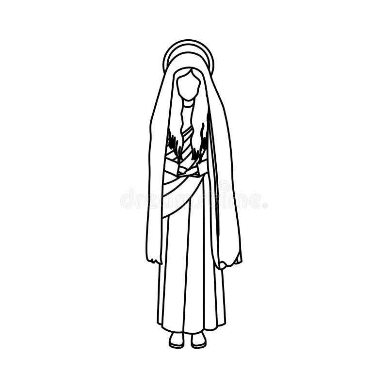 Figura Ser Humano Del Contorno De La Virgen Maria Del Santo ...