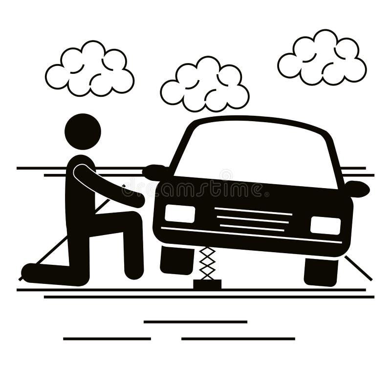 Figura ser humano del mecánico con el avatar de la silueta del coche libre illustration