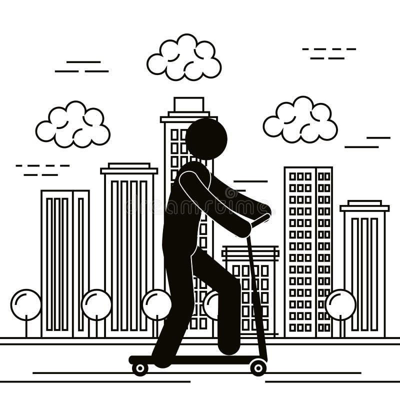 Figura ser humano en avatar de la silueta del monopatín libre illustration